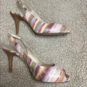Beautiful striped heels size women's size 8